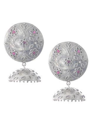 Floral Silver Drop Earrings