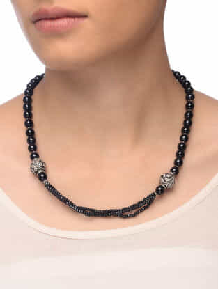 Black Onyx Beaded Silver Necklace with Floral Motif