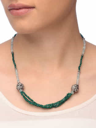 Green Onyx and Aquamarine Beaded Silver Necklace with Floral Motif