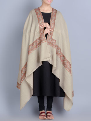 Beige-Multi-Color Wool Hand Embroidered Border Shawl