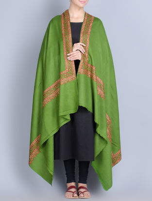 Green-Multi-Color Wool Hand Embroidered Border Shawl