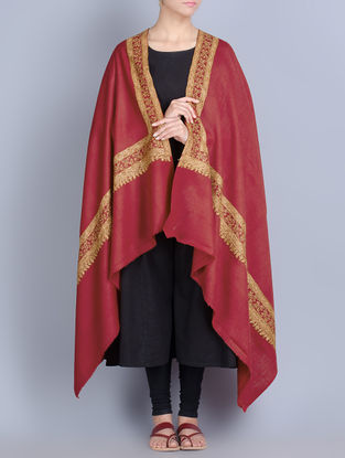 Red-Multi-Color Wool Hand Embroidered Border Shawl