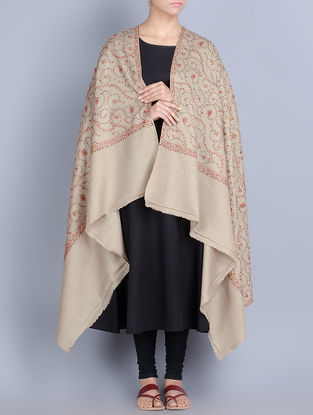 Beige-Multi-Color Wool All Over Hand Embroidered Shawl