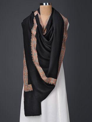 Black-Orange Hand-embroidered Wool Shawl