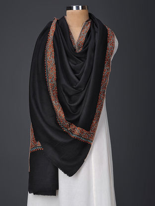 Black-Brown Hand-embroidered Wool Shawl