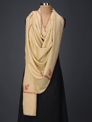 Cream-Pink Hand-embroidered Wool Shawl