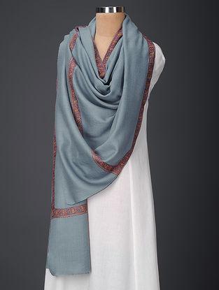 Blue-Maroon Sozni-embroidered Wool Shawl