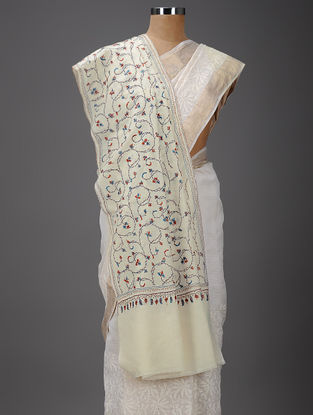 Ivory-Blue Hand-embroidered Wool Shawl