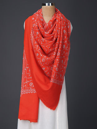 Red-Grey Hand-embroidered Wool Shawl
