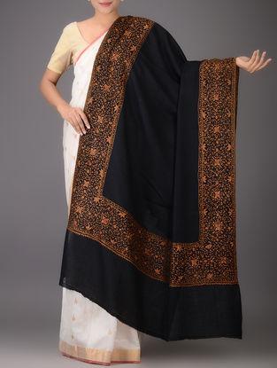 Black-Orange Yak Wool Shawl with Hand-embroidered Border
