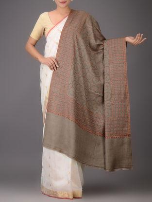 Brown-Orange Embroidered Yak Wool Shawl