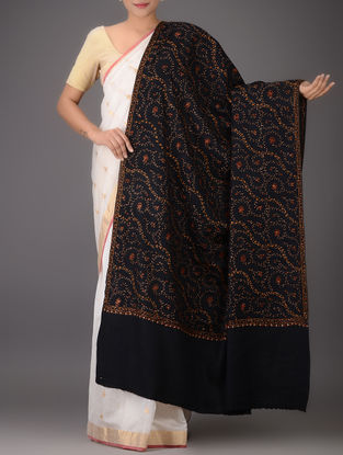 Black-Red Embroidered Yak Wool Shawl