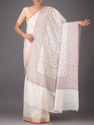 White-Brown Embroidered Yak Wool Shawl
