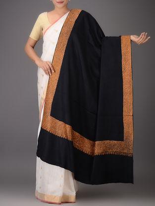Black-Orange Embroidered Yak Wool Shawl