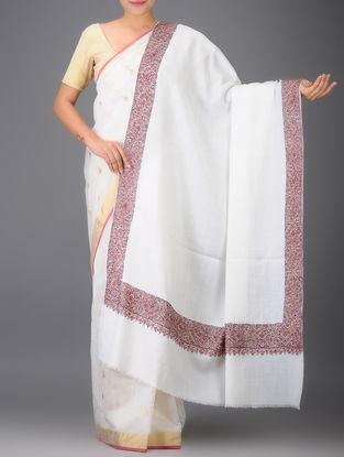White-Pink Embroidered Yak Wool Shawl