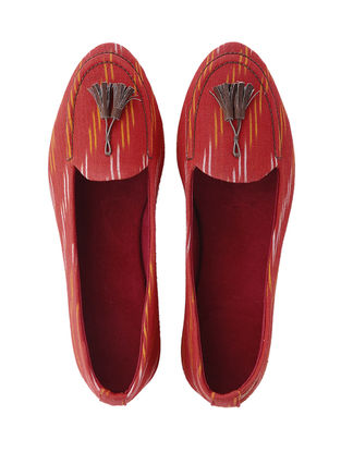 Red Batik Print Cotton Slip-ons with Tassels