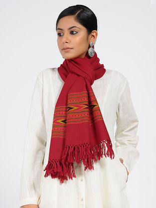 Red Wool Blend Stole