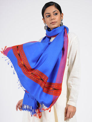 Blue-Red Wool Blend Stole
