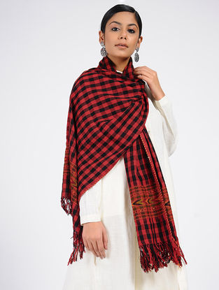 Red-Black Checkered Wool Blend Stole