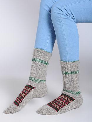 Grey-Red Wool Socks