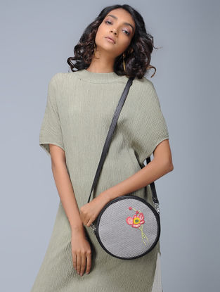 Black-White Striped Hand-Embroidered Cotton and Leather Sling Bag
