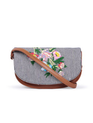 Tan-Multicolored Hand-Embroidered Cotton and Leather Sling Bag