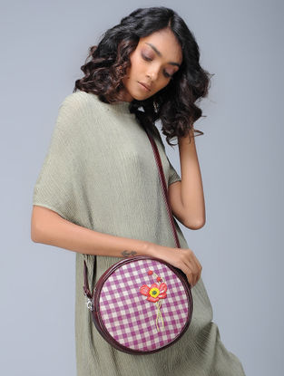 Pink-White Checkered Hand-Embroidered Cotton and Leather Sling Bag