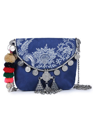 Blue Embroidered Suede Sling Bag with Metal Embellishments