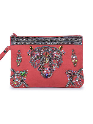Red Embroidered Suede Clutch