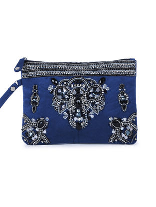 Blue Embroidered Suede Clutch