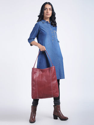 Red Handcrafted Leather Tote