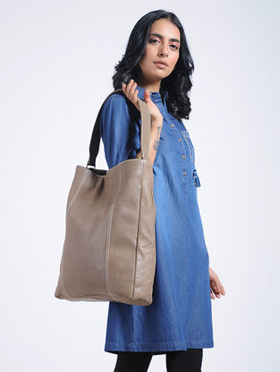 Grey Handcrafted Leather Tote