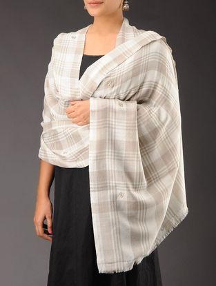 Ivory - Beige Zari Booti & Pearl Cashmere Wool Shawl