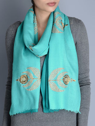 Turquoise-Blue Gota Patti Cashmere Wool Stole