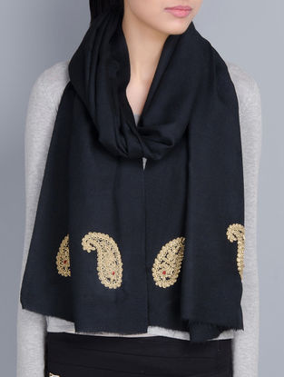Black Cashmere Wool Zardozi and Dori Work Hand Embellished Stole