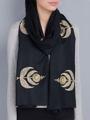 Black Cashmere Wool Sequins and Pearls Hand Embellished Stole