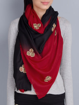 Red-Black Cashmere Wool Aari and Zardozi Hand Embellished Stole