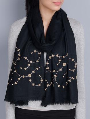 Black Cashmere Wool Aari and Zardozi Hand Embellished Stole
