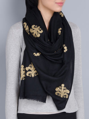 Black Cashmere Wool Dori and SequinsHand Embellished Stole