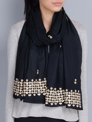 Black Cashmere Wool Gota Patti and Zardozi Hand Embellished Stole