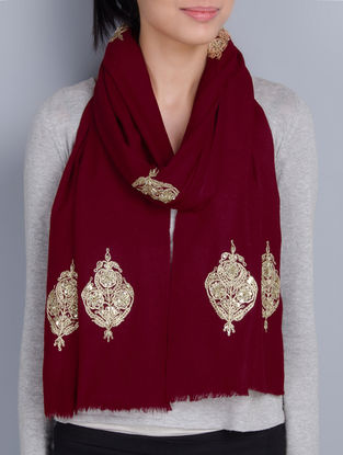 Maroon Cashmere Wool Dori and Sequins Hand Embellished Stole