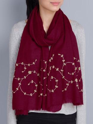 Maroon Cashmere Wool Aari and Zardozi Hand Embellished Stole