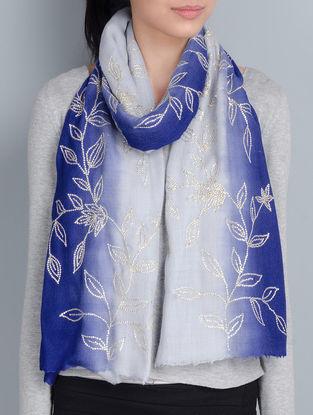 Grey-Blue Cashmere Wool Sequins Hand Embellished Stole