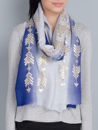 Grey-Blue Cashmere Wool Hand Gota Patti Embellished Stole