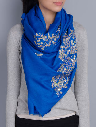 Blue Cashmere Wool Aari and Sequins Hand Embellished Stole