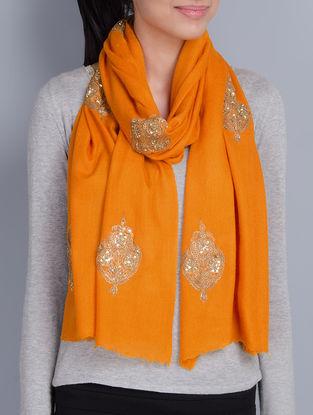 Orange Cashmere Wool Dori and Sequins Hand Embellished Stole
