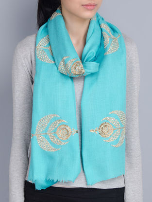 Turquoise Cashmere Wool Sequins and Pearls Hand Embellished Stole