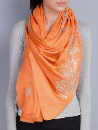 Rust Orange Cashmere Wool Aari and Sequins Hand Embellished Stole