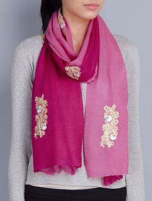 Pink-Fuschia Cashmere Wool Pittam & Resham Hand Embellished Stole