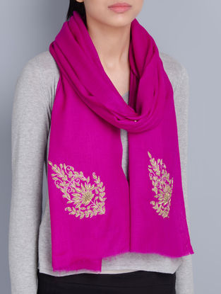 Fuschia Cashmere Wool Aari and Zardozi Hand Embellished Stole